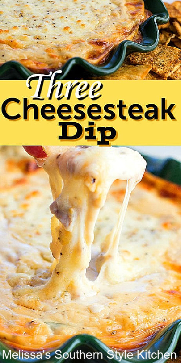 Serve this gooey Three Cheesesteak Dip with warm with pita chips or crostini for dipping #cheesesteaks #cheesesteakdip #diprecipes #cheesedip #easyappetizers #steak #cheesesteakdip