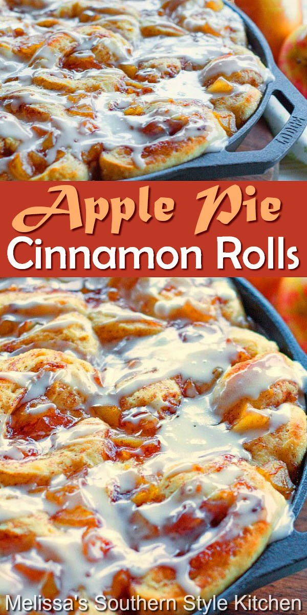 These ooey gooey Apple Pie Cinnamon Rolls are impossible to resist #applepie #applepiecinnamonrolls #cinnamonrolls #pizzadough #easycinnamonrolls #applerecipes #apples #rolls #brunch #breakfast #southernfood #fallbaking #holidaybrunch #southernrecipes