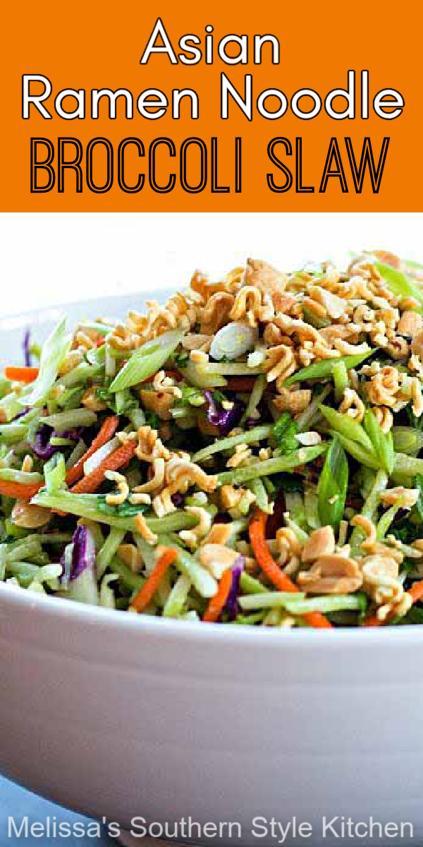 You'll add crunch and color to your side dish menu with this scrumptious Asian Ramen Noodle Broccoli Slaw #broccolisalw #ramen #Asianinspired #salads #broccoli #vegetarian #picnicfood #sidedishrecipes #southernfood #southernrecipes #slaw