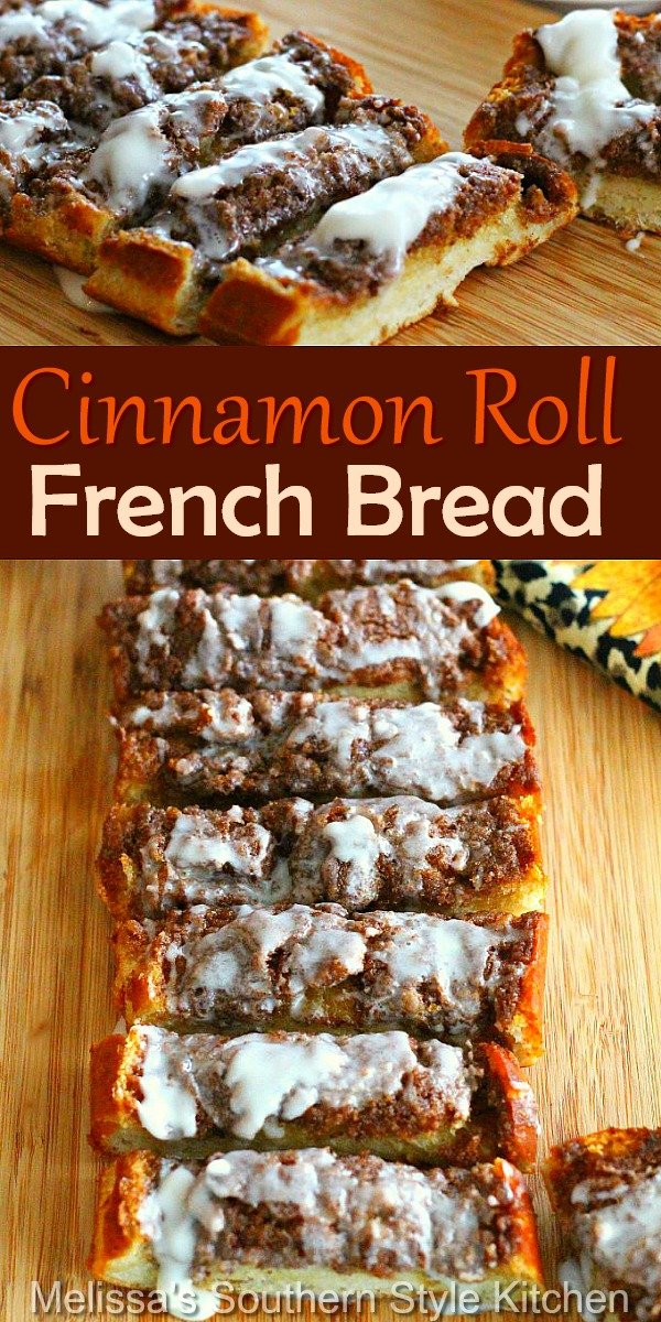 Turn one of those inexpensive loaves of bread from your local grocery store into this million dollar Cinnamon Roll French Bread #cinnamonrollbread #cinnamonrolls #bread #frenchbread #rolls #brunch #breakfast #breadrecipes #southernfood #southernrecipes #easyrecipes #cinnamon