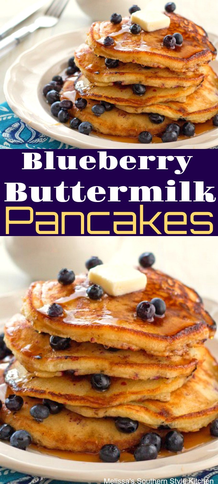 Blueberry Buttermilk Pancakes are slightly sweet with a hint of vanilla and the amazing flavor burst of fresh blueberries #blueberrypancakes #blueberries #pancakerecipes #buttermilkpancakes #blueberry #pancakes #brunch #breakfast