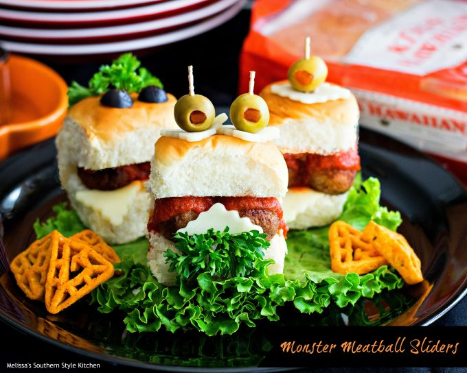 too cute to be scary right monster meatball sliders - Scary Halloween Meatballs