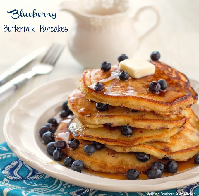 Blueberry Buttermilk Pancakes - melissassouthernstylekitchen.com