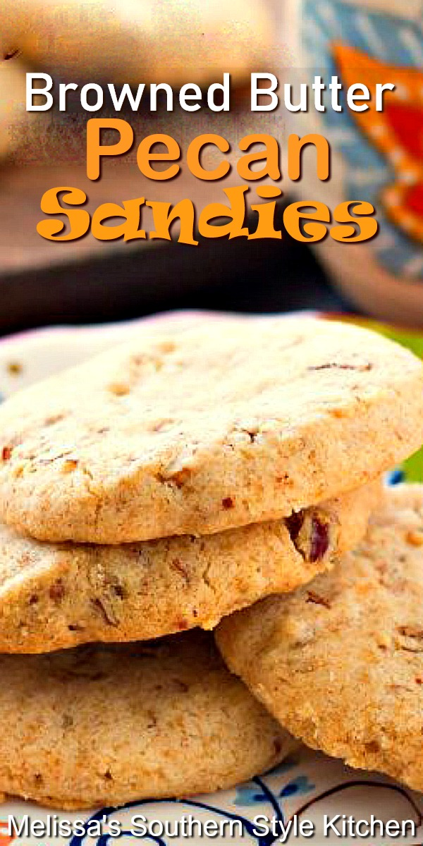 These buttery shortbread cookies are filled with the nutty flavor of browned butter and toasted pecans #pecancookies #pecansandies #shortbreadcookies #cookies #cookierecipes #desserts #dessertfoodrecipes #southernfood #southernrecipes #holidaybaking #christmascookies