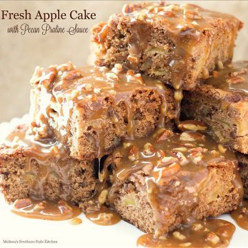 Fresh Apple Cake with Pecan Praline Sauce