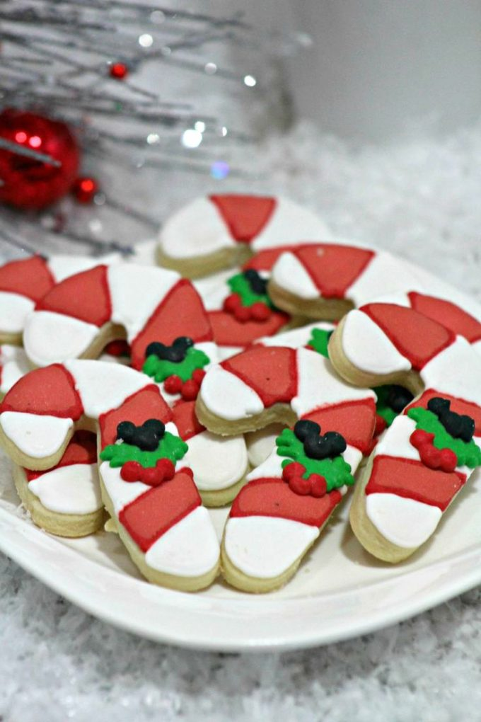 Hidden Mickey Candy Cane Cookies