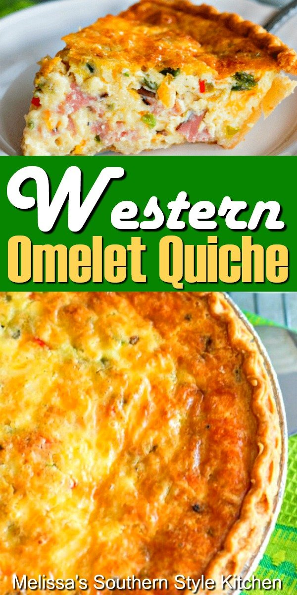 This Western Omelet Quiche can be served for breakfast, brunch, lunch or dinner #westernomeletquiche #westernomelet #quicherecipes #bestquicherecipes #omelets #eggs #holidaybrunch #holidays #dinner #dinnerideas #leftoverhamrecipes #southernfood #southernrecipes