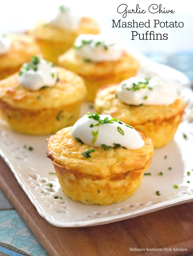 Garlic Chive Mashed Potato Puffins - melissassouthernstylekitchen.com