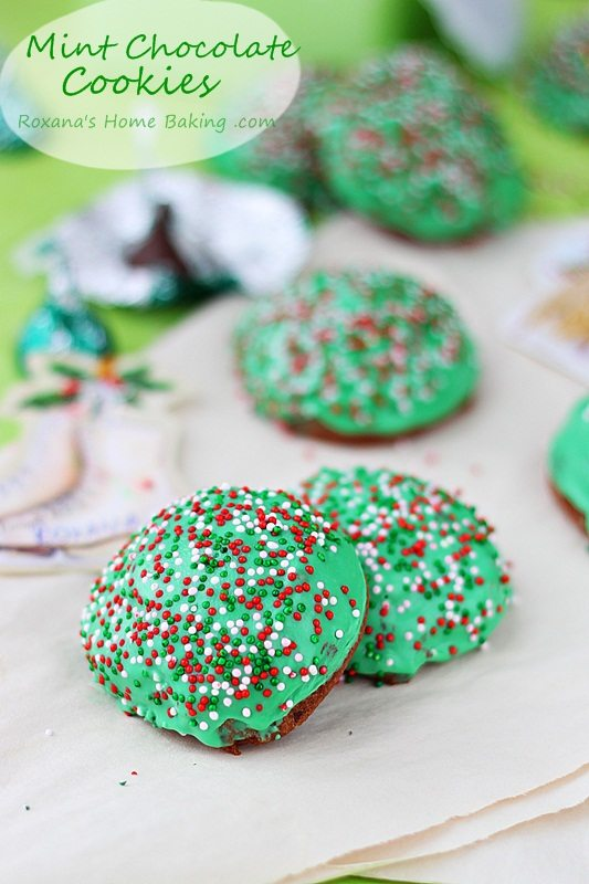 mint truffle kisses chocolate cookies