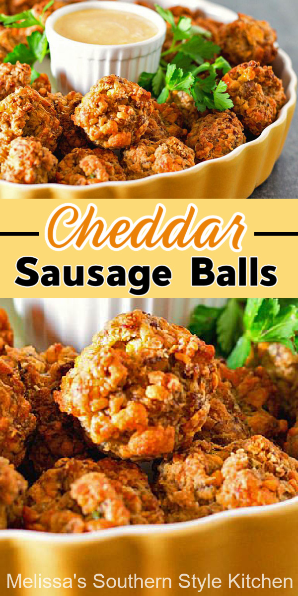 These bite size Cheddar Sausage Balls make the ideal starter for any occasion #sausageballs #snacks #appetizers #brunch #partyfood #southernrecipes #southernfood #cheddarcheese #cheddarsausageballs #sausage