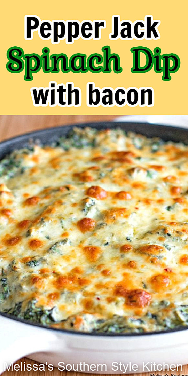 Add this Pepper Jack Spinach Dip with Bacon to your appetizer menu ASAP #spinachdip #bacon #pepperjackcheese #spinachrecipes #appetizers #partyfood #footballrecipes #southernfood #southernrecipes