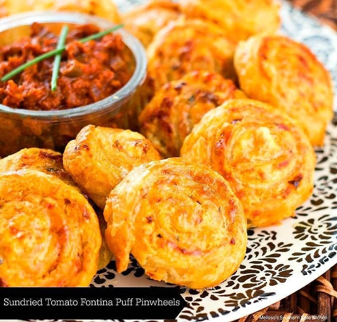 baked pinwheels on a platter