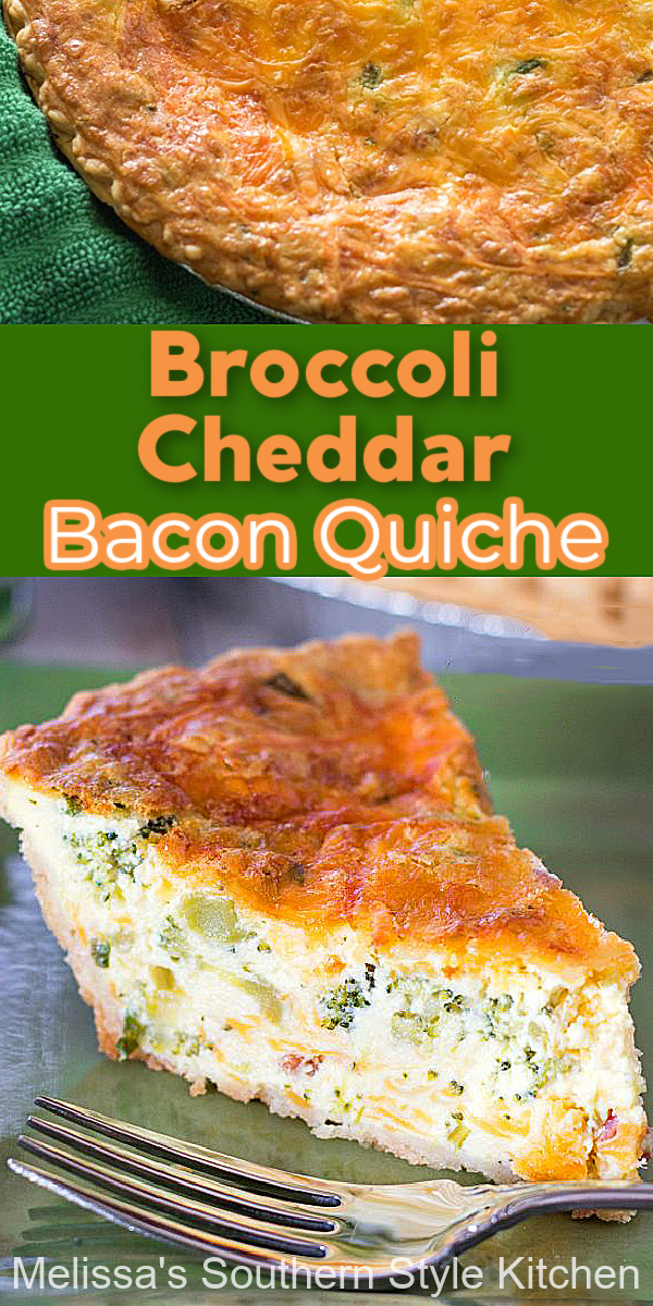 Enjoy a big piece of this Broccoli Cheddar Bacon Quiche at any meal of the day #cheddarbroccolibaconquiche #broccolicheddar #quiche #cheddarquiche #bacon #bestquicherecipes #brunch #breakfast #dinner #dinnerideas #broccoli #southernrecipes #southernfood