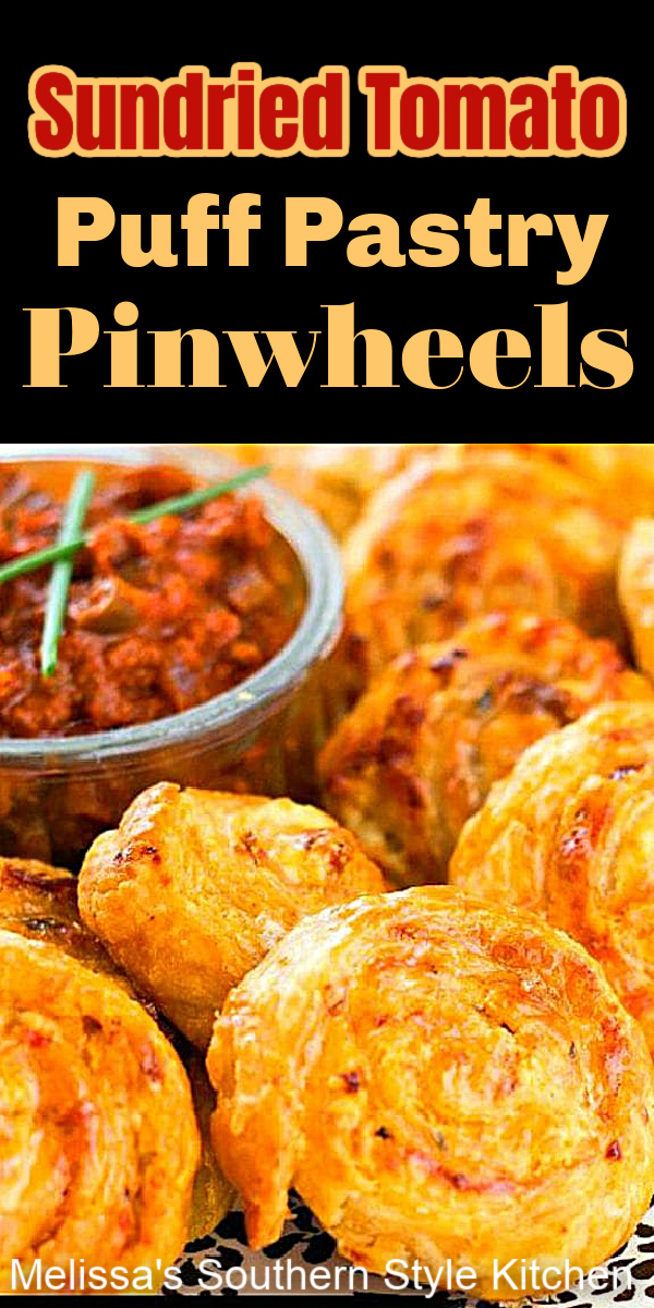 These Sundried Tomato Fontina Puff Pinwheels are an amazing and oh-so-simple appetizer to make #puffpastry #pinwheels #sundriedtomatoes #sundriedtomatopinwheels #puffpastryrecipes #easyappetizers #sundriedtomatoes #pastry