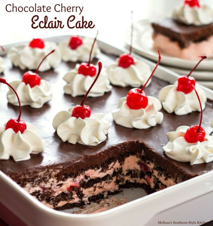 Chocolate Cherry Eclair Cake from Melissa's Southern Style Kitchen