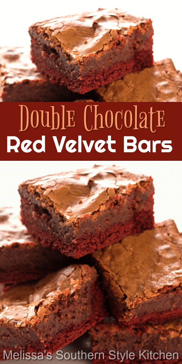 These gooey chess bars pack a heaping helping of chocolate in every bite #redvelvet #chessbars #gooeybuttercake #bars #desserts #dessertfoodrecipes #southerndesserts #southernrecipes #southernfood #chocolate #chocolatebars