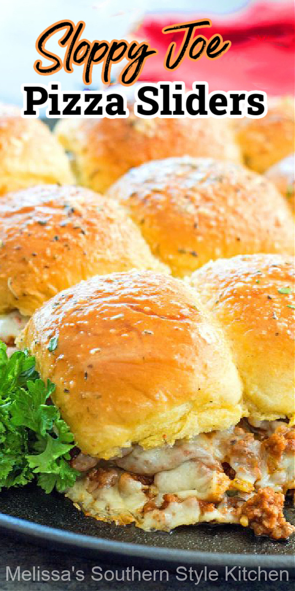 Enjoy these cheesy Sloppy Joe Pizza Sliders for snacking and casual meals #sloppyjoes #pizzasliders #pizza #sliders #easygroundbeefrecipes #groundbeef #groundbeefrecipes #pullapartrolls #pizzarecipes #appetizers #sandwiches #dinnerideas #food #recipes #southernfood #southernrecipes