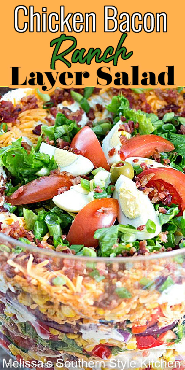 Enjoy this stunning Chicken Bacon Ranch Layer Salad as a side dish or an entree #chickenbaconranch #layersalad #chickenbaconranchsalad #chicken #bacon #salads #saladrecipes #sideidishrecipes #dinnerideas #dinner #southernfood #ranchdressing #southernrecipes