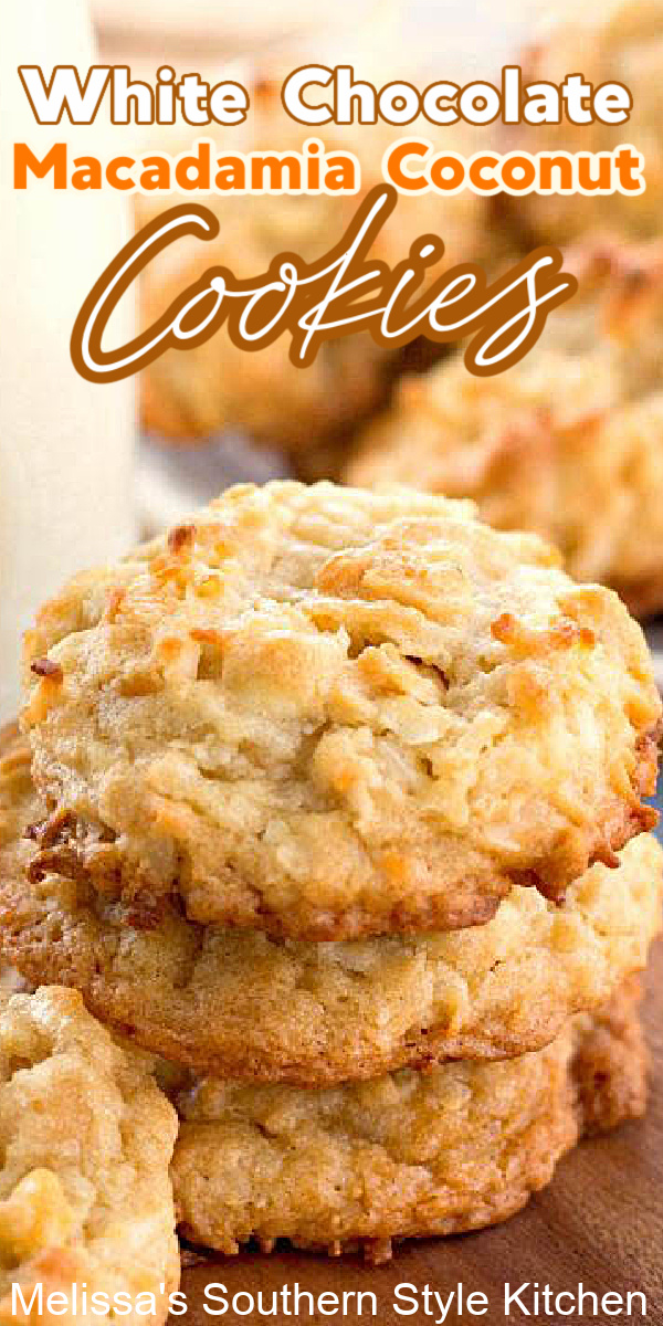 These loaded White Chocolate Macadamia Coconut Cookies won't last long in your cookie jar #whitechocolatechipcookies #coconutcookies #macadamianuts #christmascookies #cookierecipes #coconut #desserts #dessertfoodrecipes #chocolatechipcookies #cookies #holidaybaking #bestcookierecipes #southernfood #southernrecipes