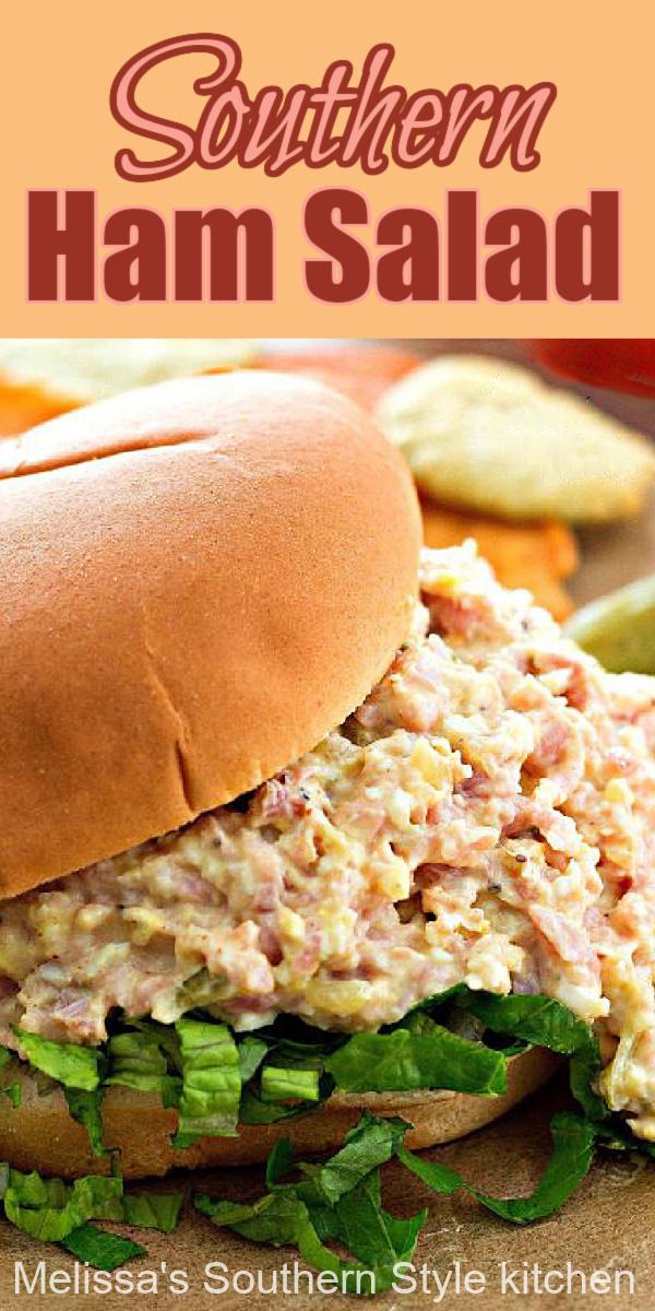 Turn ham into a homemade filling for croissants, bagels, rolls and more #hamsalad #salad #hamrecipes #leftoverham #sandwiches #southernfood #southernrecipes #salads #dinner #dinnerideas #leftoverhamrecipes #besthamsalad