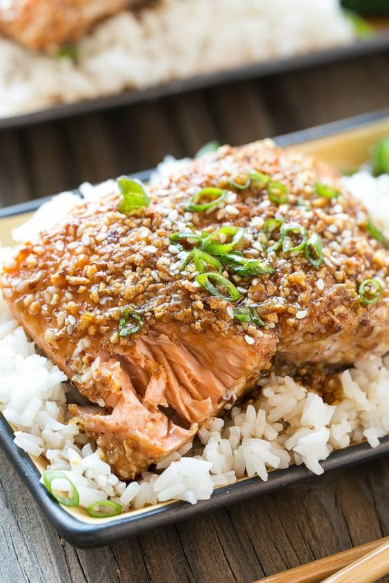 Almond Crusted Salmon with Honey Garlic Sauce from Dinner at the Zoo