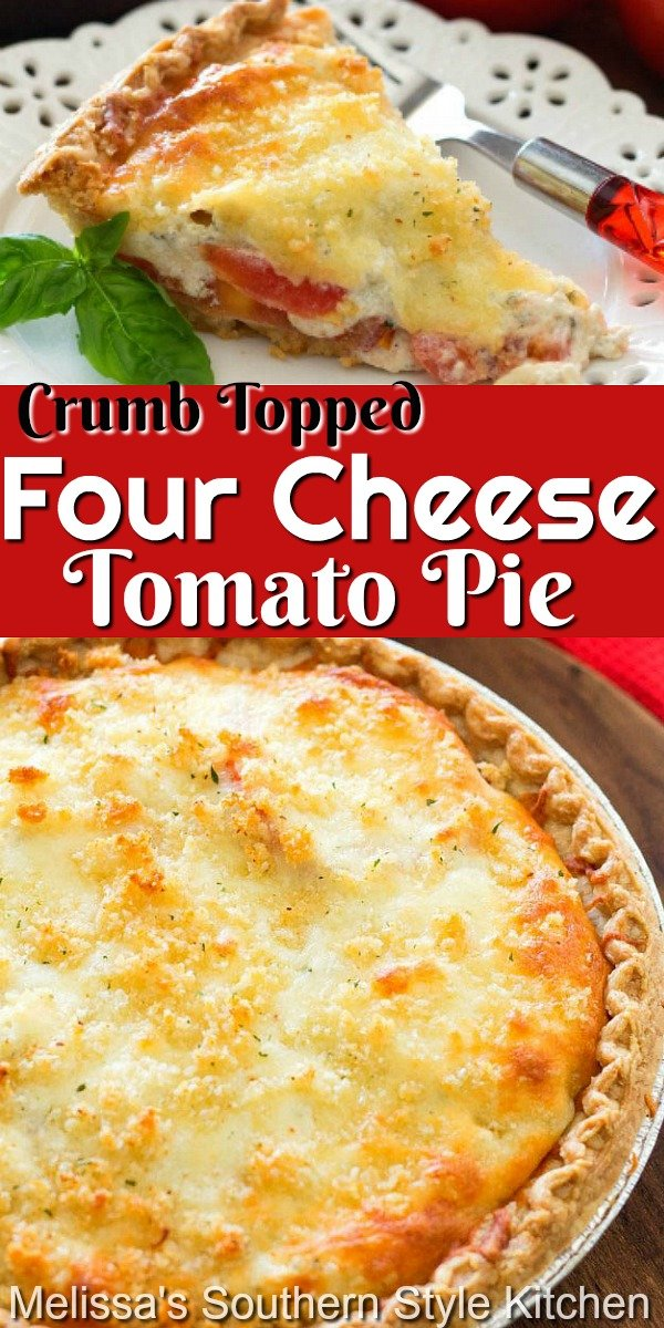 Summer tomatoes form the basis of this amazing Crumb Topped Four Cheese Tomato Pie #tomatopie #cheesepie #tomatoes #tomatotart #freshtomatoes #cheesy #pie #pierecipes #maindish #dinnerideas #brunch #breakfast #holidayrecipes #summerrecipes #southernfood #southernrecipes