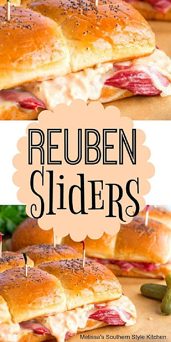 These mini Reuben Sliders are topped with a homemade Thousand Island dressing that's to die for! #reubensandwich #reubensliders #cornedbeef #cornedbeefrecipes #beef #partyfood #appetizers #sandwiches #thousandislanddressing #stpatricksday #stpaddys #footballfood