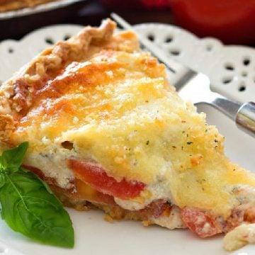 single piece Four Cheese Tomato Pie