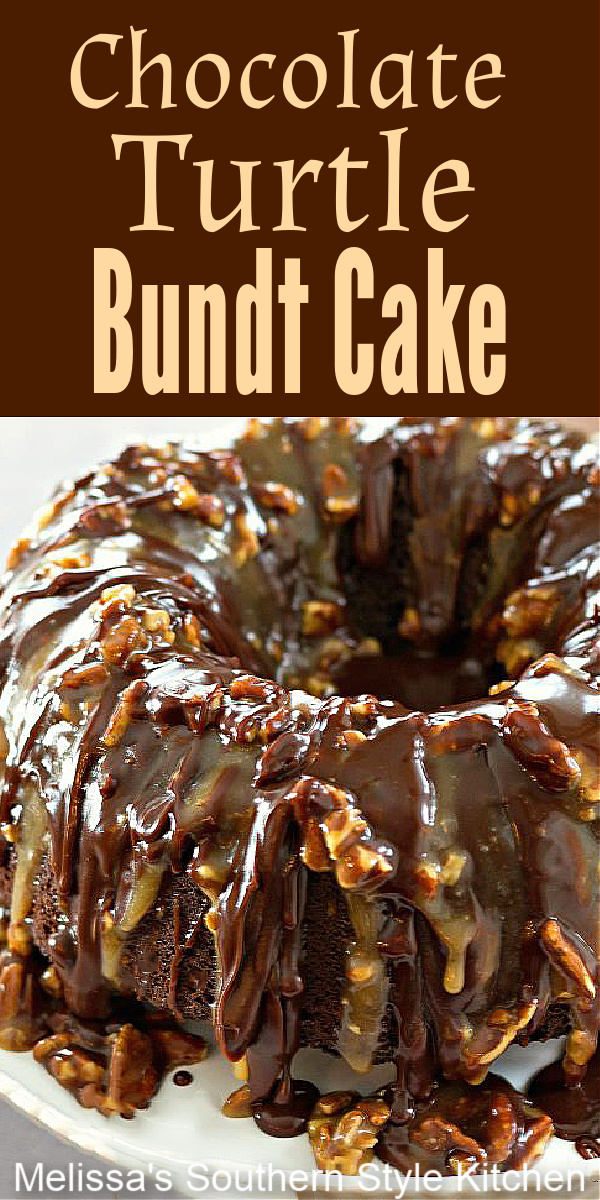 This stunning Chocolate Turtle Bundt Cake is is drizzled with a buttery homemade pecan-caramel sauce and fudgy chocolate ganache #turtlecake #turtlebundtcake #chocolatecakerecipes #chocolatecake