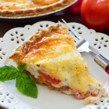 Crumb Topped Four-Cheese Tomato Pie