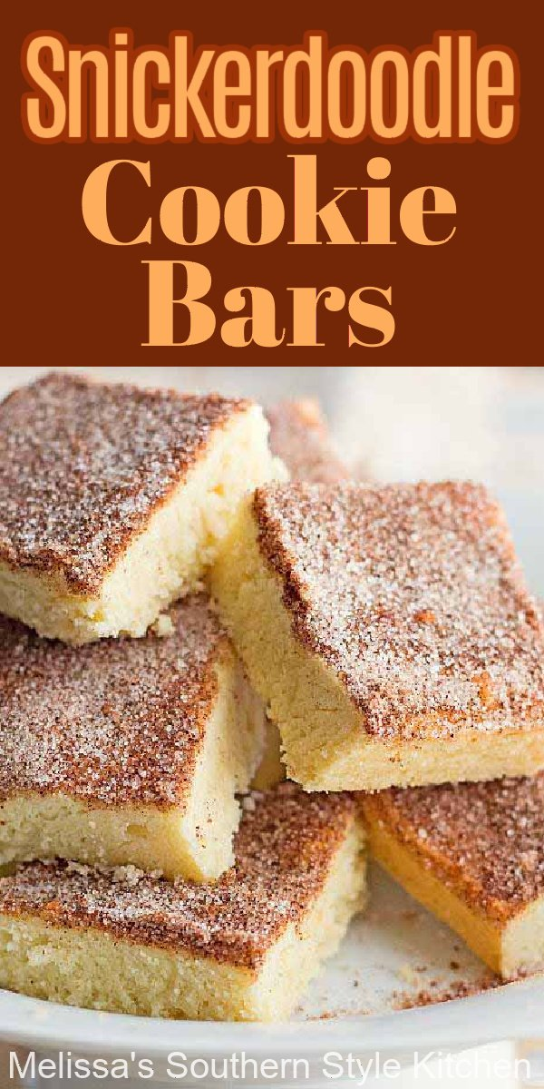 These sweet Snickerdoodle Cookie Bars will melt in your mouth #snickerdoodles #snickerdoodlecookies #cookiebars #snickerdoodlecookiebars #cookies #snickerdoodles #cookierecipes #fallbaking #holidaybaking #thanksgivingdesserts