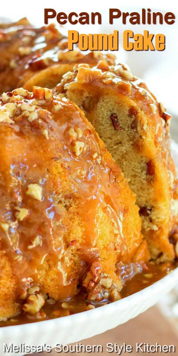 This buttery Pecan Praline Buttermilk Pound Cake is filled with toasted pecans and toffee bits then drizzled with a sweet pecan praline glaze #pralinepoundcake #pralinepecans #poundcakerecipes #pralines #cakes #cakerecipes #desserts #dessertfoodrecipes #holidaybaking #southernfood #southernrecipes