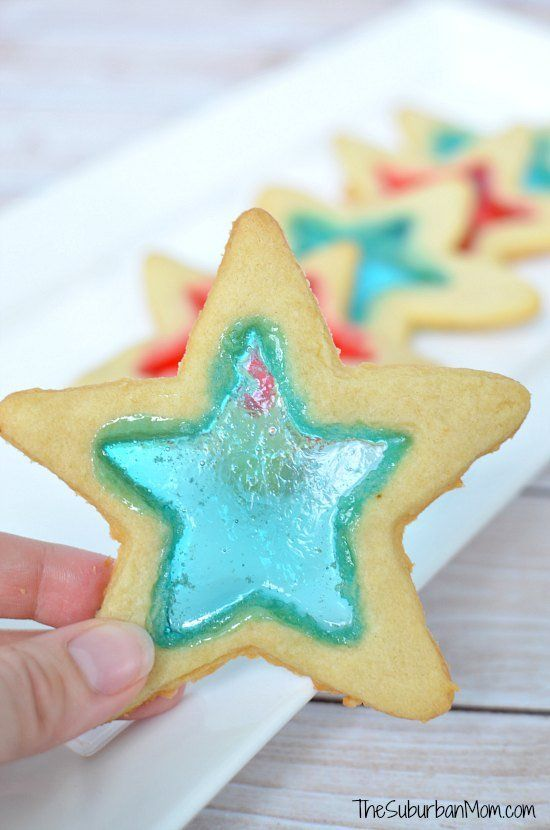 4th Of July Stained Glass Red, White & Blue Star Cookies