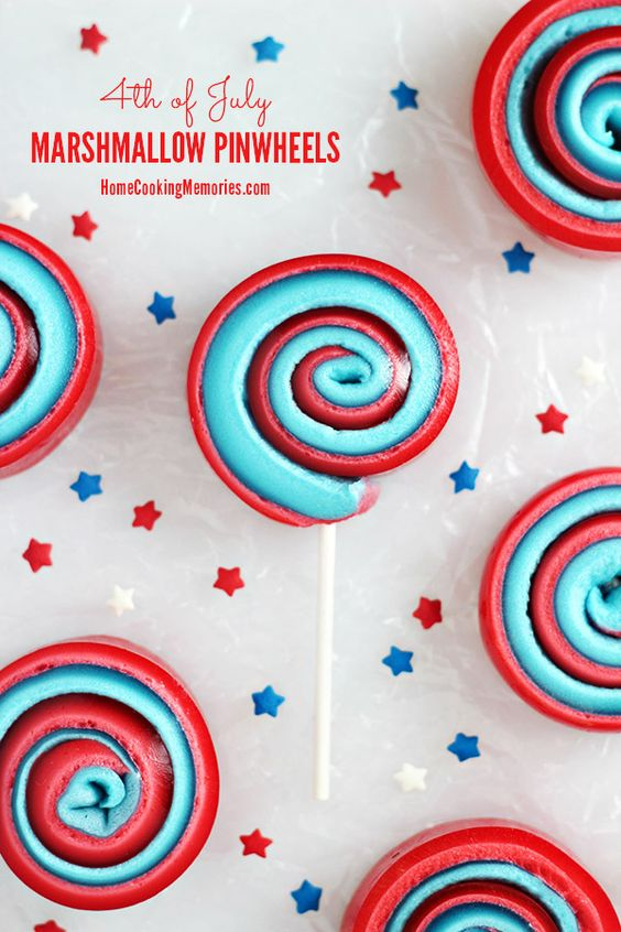 4th of July Marshmallow Pinwheels