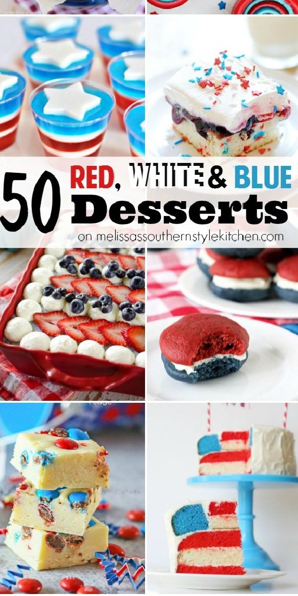 There's something for everyone in this delectable collection of 50 Red, White and Blue Desserts #desserts #july4th #memorialday #sweets #dessertfoodrecipes #southernfood #southernrecipes #cupcakes #picnicdesserts #whoopiepies #jello #suckers