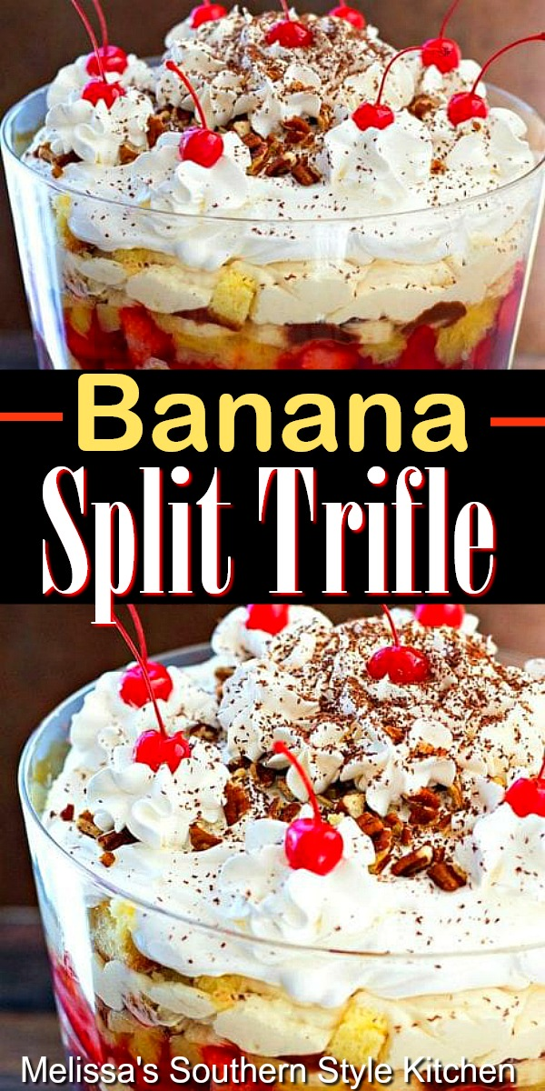 Layers of dessert love in this Banana Split Trifle #bananasplit #bananasplittrifle #triflerecipes #desserts #desserftfoodrecipes #picnicdesserts #bbqdesserts #bestfood #food #southernrecipes #southernfood