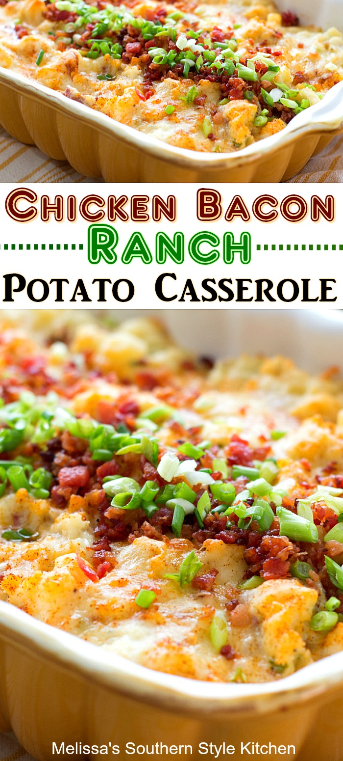 This Chicken Bacon Ranch Potato Casserole is packed with flavor and can double as a side dish or an entree #potatocasseroles #chicken #chickenbaconranch #chickencasserole #easychickenrecipes #bestpotatocasserolerecipes #baconpotatoes #bacon #southernrecipes #southernfood #melissasssouthernstylekitchen #southernfood #potatoes #twicebakedpotatoes