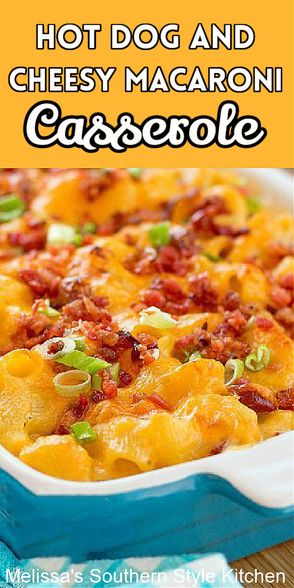 Kids of all ages LOVE this down home Hot Dog Cheesy Macaroni Casserole #hotdogs #macaroniandcheese #hotdogmacaroni #hotdogcasserole #casseroles #dinnerideas #dinner #cheese #macaroni #pasta #casserolerecipes #southernfood #southernrecipes