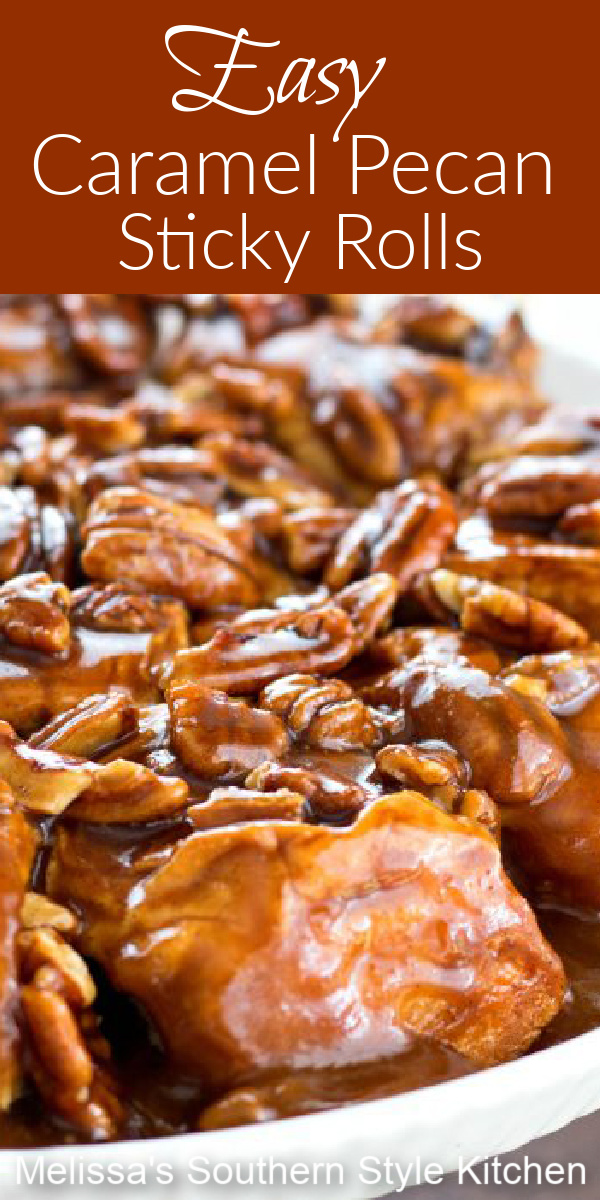 No bread making is required to make these irresistible caramel pecan sticky rolls #stickyrolls #caramel #caramelpecan #pecans #sweetrolls #caramelrolls #sweet #desserts #dessertfoodrecipes #southernfood #southernrecipes #bread #rolls #brunch #breakfast