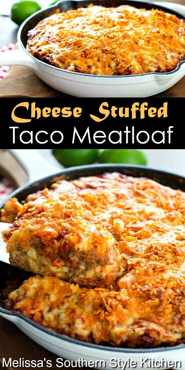 Spice-up your dinner menu with this gooey Cheese Stuffed Taco Meatloaf #meatloaf #tacomeatloaf #tacos #groundbeefrecipes #tacobeef #dinnerideas #cheesestuffedmeatloaf #dinner #southernfood #southernrecipes #easygroundbeefrecipes