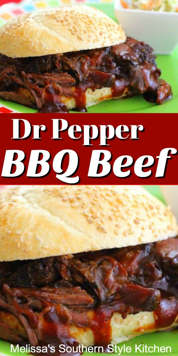 Simmer this tender mouthwatering Slow Cooked Dr Pepper Barbecue Beef all day in your slow cooker #beef #barbecue #barbecuebeef #slowcookedbeef #drpepper #barbecuesauce #dinnerideas #southernrecipes #southernfood #easyrecipes #potroast #crockpotbeef #crockpotrecipes #easybeefrecipes