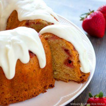 Strawberry Pound Cake with Vanilla Cream Glaze