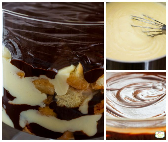 Step-by-step preparation images and ingredients for Boston Cream Doughnut Trifle