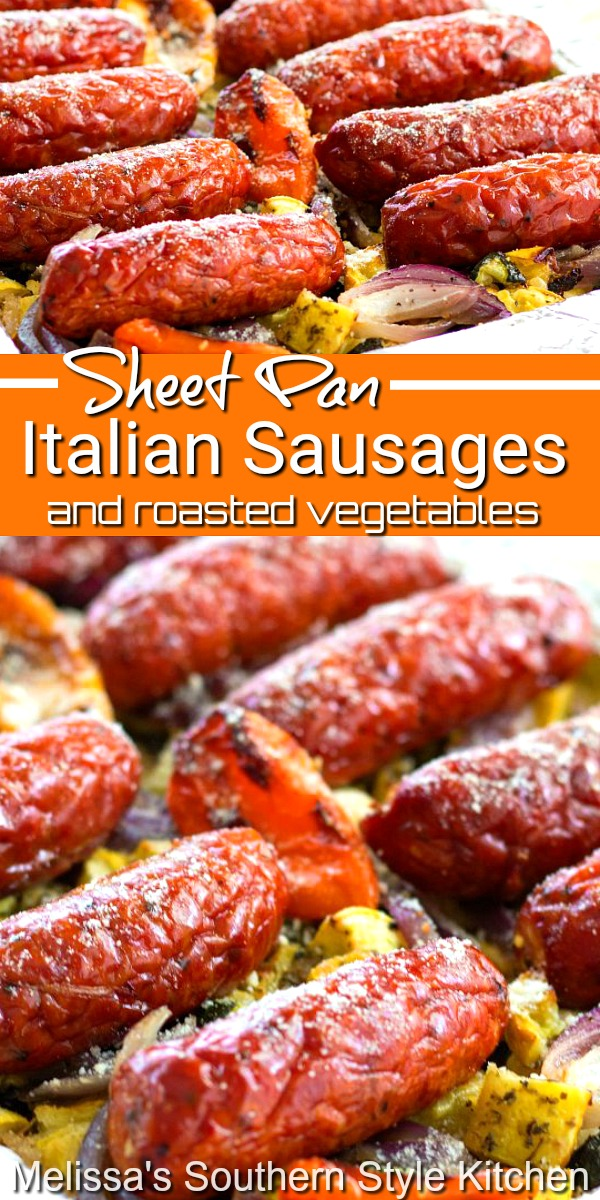Make the entire meal on a sheet pan for a low stress all-in-one meal #sheetpanmeals #italaiansausages #roastedvegetables #sheetpanrecipes #dinnerideas #Italian #roastedsquash #dinner #southernfood #southernrecipes