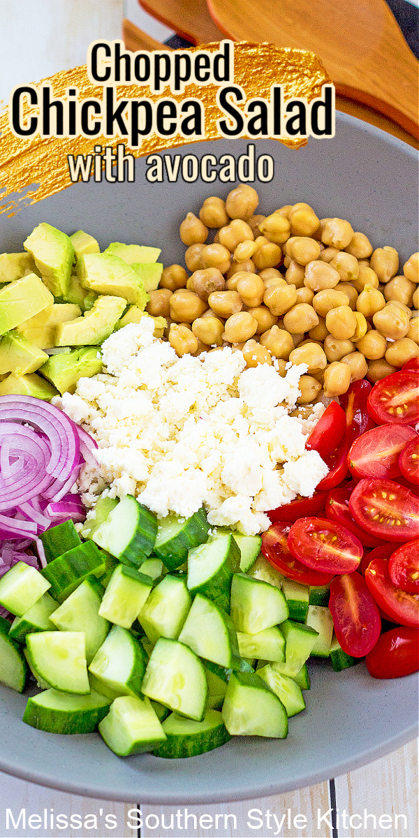 This fresh veggie filled Chopped Chickpea Salad with Avocado can be served as a light side dish or a light meal all in itself #chickpeas #chickpeasalad #saladrecipes #healthysalads #healthyrecipes #vegetarian #avocadorecipes #southernsides #southernrecipes #picnicsides