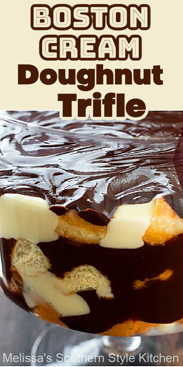This Boston Cream Doughnut Trifle features layers of pastry cream, doughnuts and and gooey chocolate #bostoncream #bostoncreamdoughnuts #bostoncreamtrifle #trifles #triflerecipes #desserts #dessertfoodrecipes #holidaydesserts #southernfood #donuts #doughnuts #southernrecipes