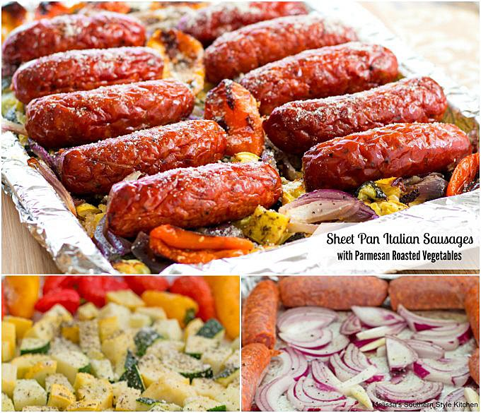 Stgep-by-step preparation images and ingredients doe sheet pan sausages and vegetables
