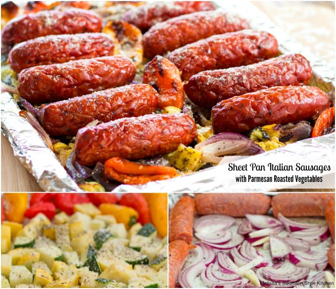 Sheet Pan Italian Sausages With Parmesan Roasted Vegetables