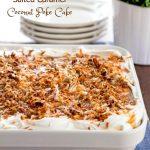 Salted Caramel Coconut Poke Cake