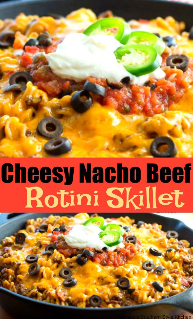 Cheesy Nacho Beef Rotini Skillet